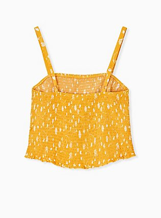 Plus Size Golden Yellow Floral Challis Smocked Crop Cami  , , alternate