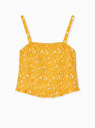 Golden Yellow Floral Challis Smocked Crop Cami  , , hi-res