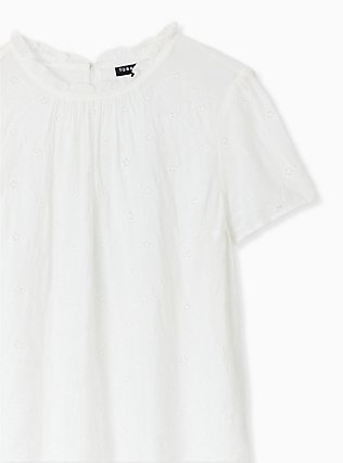 White Eyelet Mock Neck Blouse, CLOUD DANCER, alternate