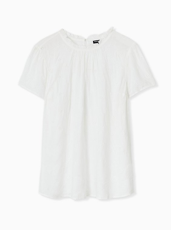 White Eyelet Mock Neck Blouse, , hi-res