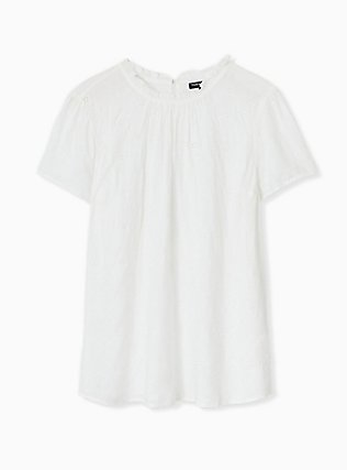 White Eyelet Mock Neck Blouse, CLOUD DANCER, hi-res