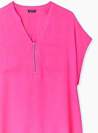 Neon Pink Georgette Zip Front Dolman Blouse, PINK GLO, alternate