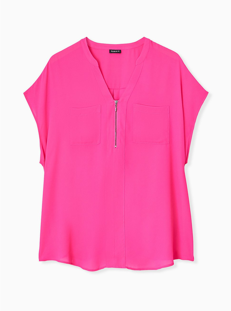 Neon Pink Georgette Zip Front Dolman Blouse, PINK GLO, hi-res
