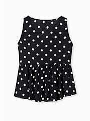 Black & White Polka Dot Georgette Peplum Sleeveless Blouse, MULTI, alternate