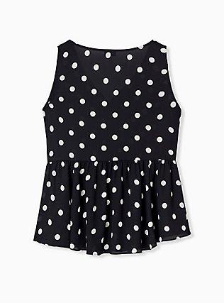 Black & White Polka Dot Georgette Peplum Top, MULTI, alternate