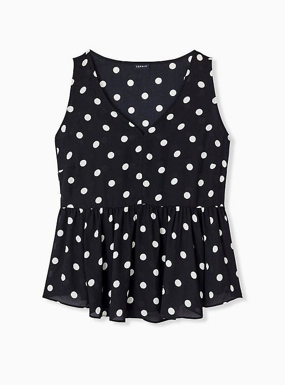 Black & White Polka Dot Georgette Peplum Sleeveless Blouse, , hi-res