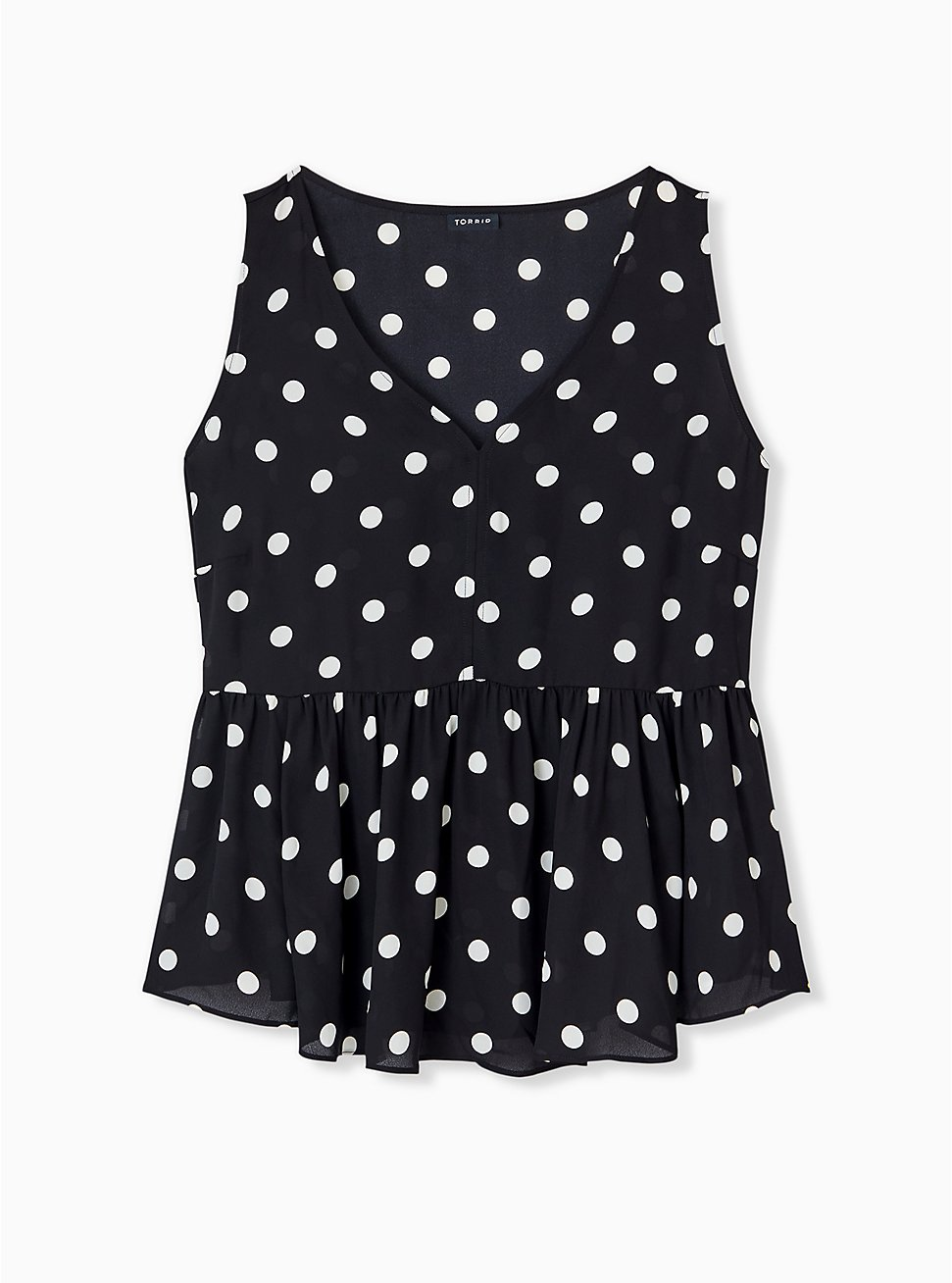 Black & White Polka Dot Georgette Peplum Sleeveless Blouse, MULTI, hi-res