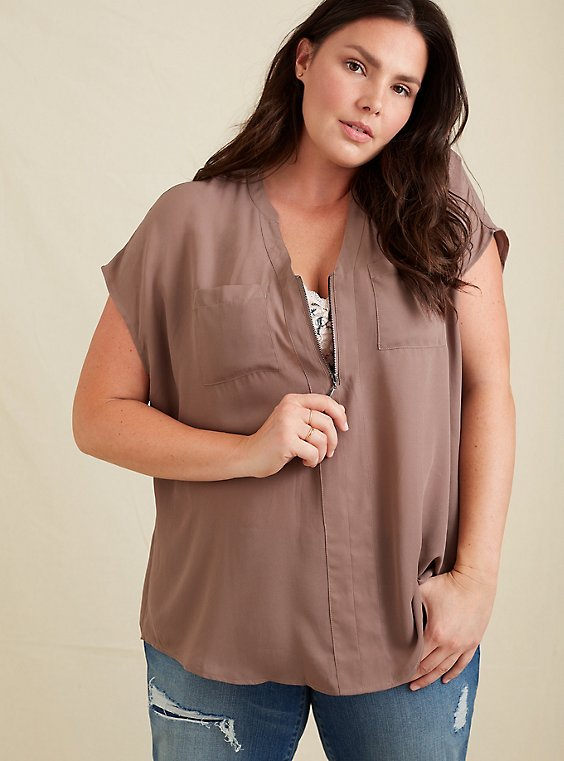 Plus Size Dark Taupe Georgette Zip Front Dolman Blouse, , hi-res