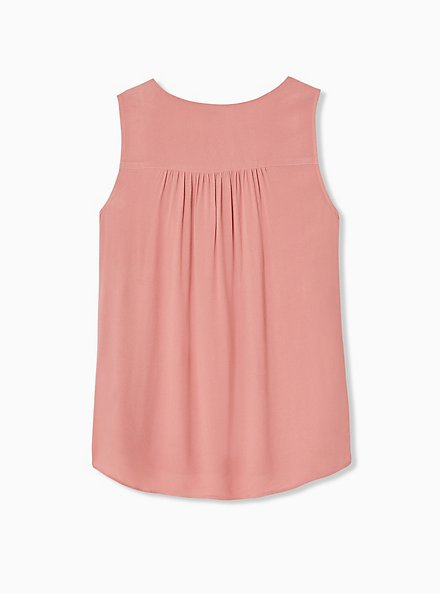 Dusty Coral Crepe Chain Front Tank, DESERT SAND, alternate