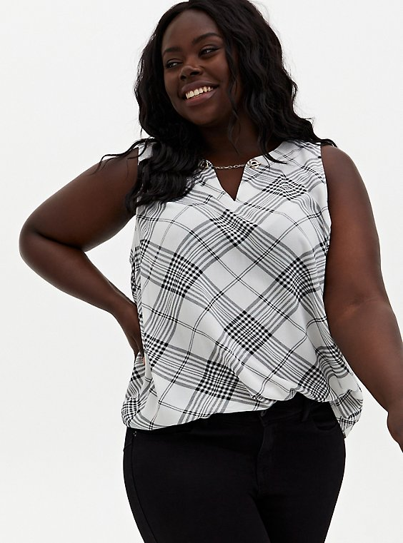 Plus Size Black & White Plaid Crepe Chain Front Tank, , hi-res