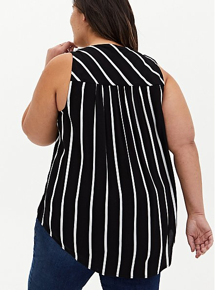 Black & White Stripe Crepe Chain Front Tank, MULTI, alternate