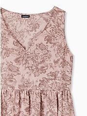 Taupe Floral Georgette Peplum Top, MULTI, alternate
