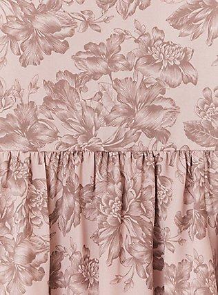 Taupe Floral Georgette Peplum Top, MULTI, alternate