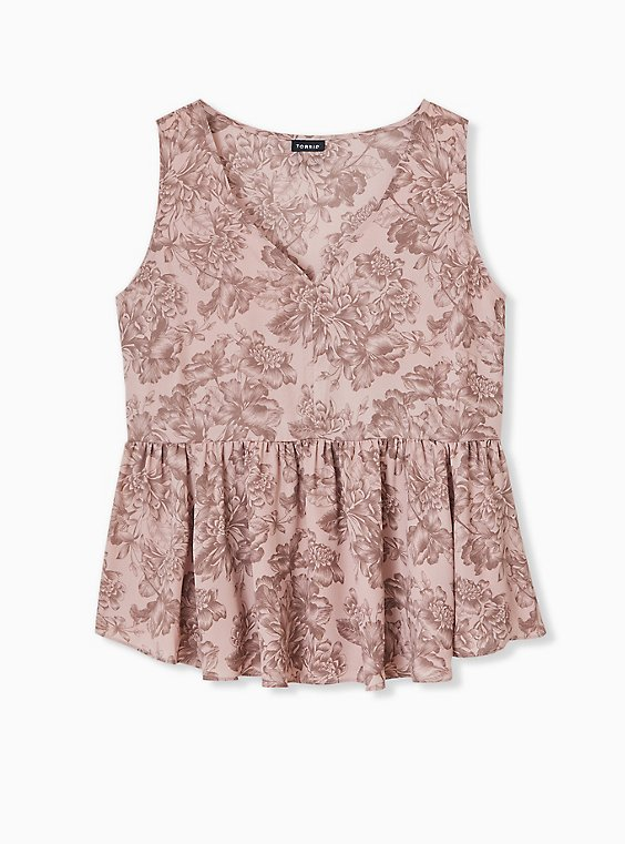 Taupe Floral Georgette Peplum Top, MULTI, hi-res