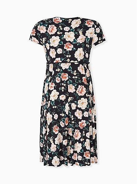 Plus Size Black Floral Studio Knit Button Midi Dress, FLORAL - BLACK, alternate