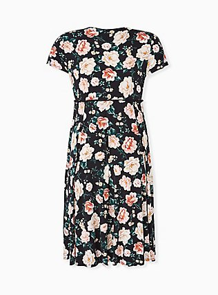 Black Floral Studio Knit Button Midi Dress, FLORAL - BLACK, alternate