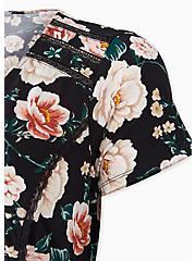 Black Floral Studio Knit Button Midi Dress, FLORAL - BLACK, alternate