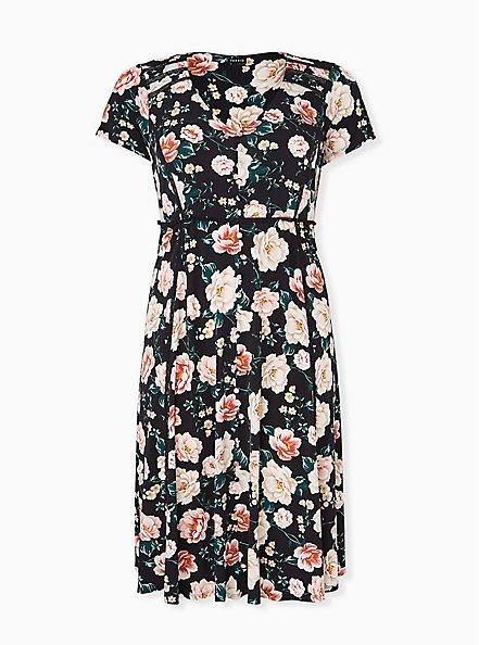 Plus Size Black Floral Studio Knit Button Midi Dress, FLORAL - BLACK, hi-res