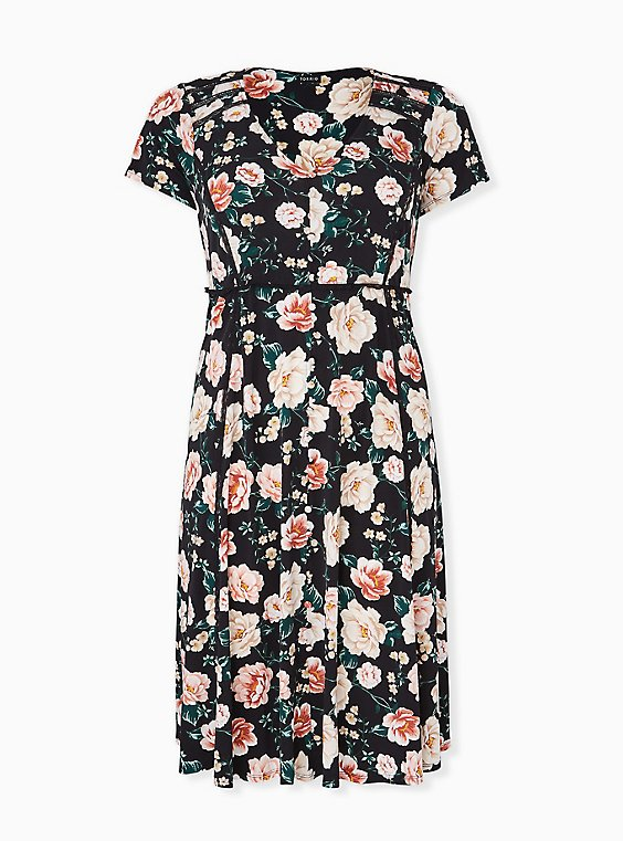 Plus Size Black Floral Studio Knit Button Midi Dress, , hi-res
