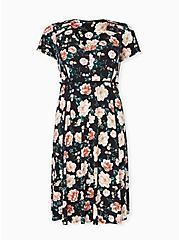 Black Floral Studio Knit Button Midi Dress, FLORAL - BLACK, hi-res
