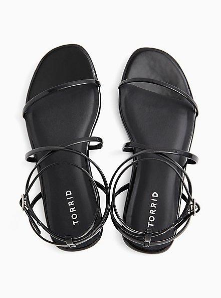 Black Faux Patent Leather Strappy Gladiator Sandal (WW), BLACK, alternate
