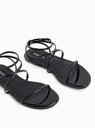 Black Faux Patent Leather Strappy Gladiator Sandal (WW), BLACK, hi-res