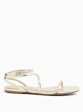 Gold Faux Patent Leather Strappy Gladiator Sandal (WW), GOLD, alternate