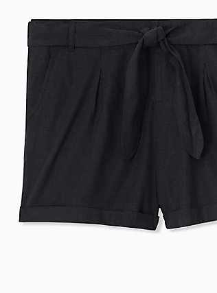 Self Tie Short Short - Linen Black , DEEP BLACK, alternate