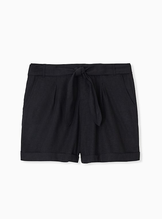 Self Tie Short Short - Linen Black , , hi-res