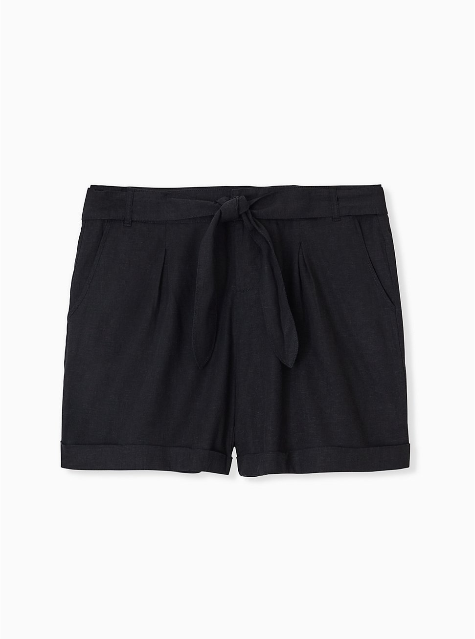 Self Tie Short Short - Linen Black , DEEP BLACK, hi-res