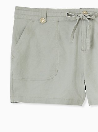 Plus Size Drawstring Short Short - Linen Sage Green , SEAGRASS, alternate