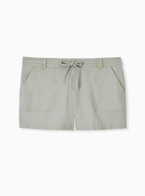 Drawstring Short Short - Linen Sage Green , , hi-res
