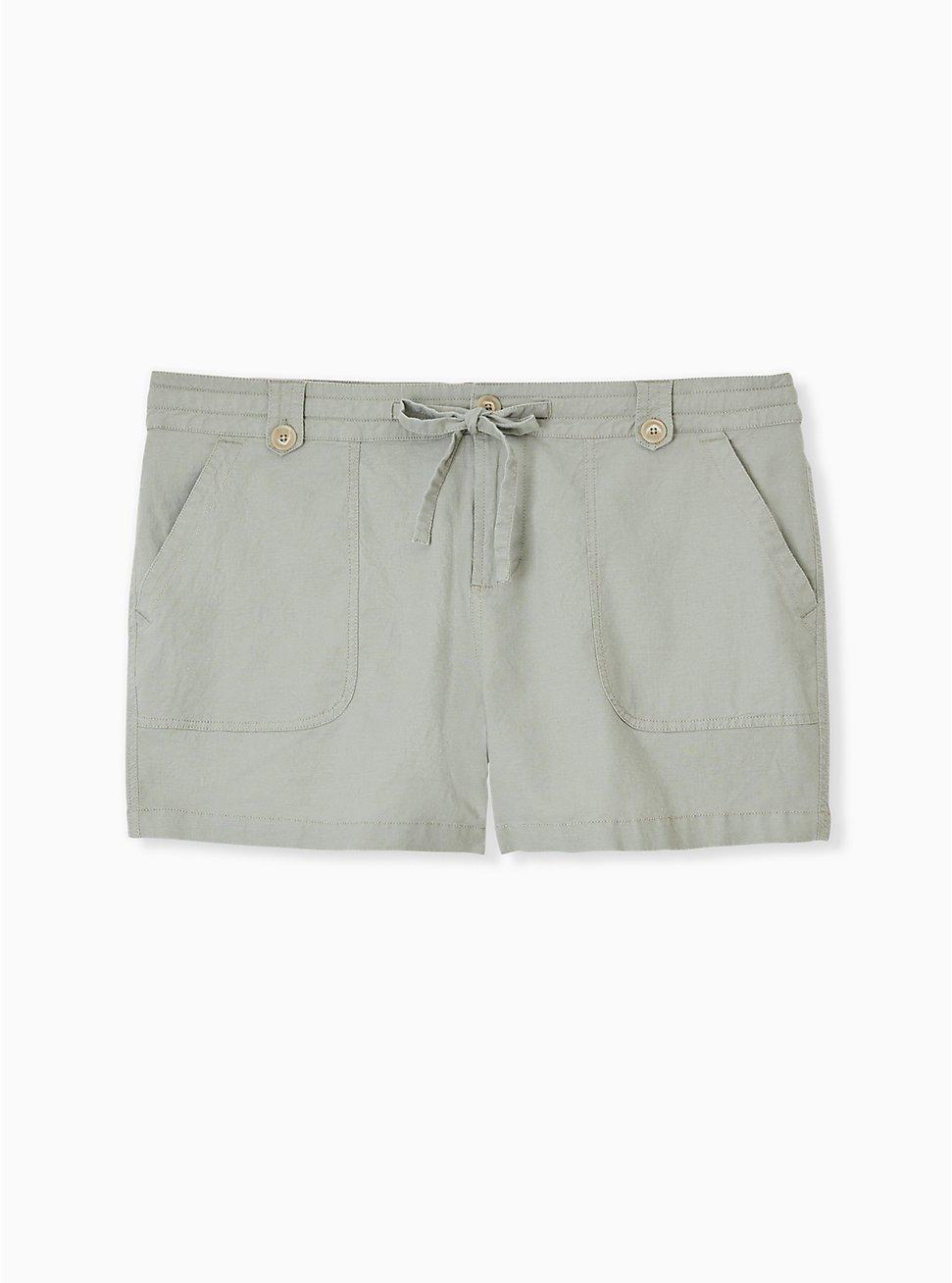 Drawstring Short Short - Linen Sage Green , SEAGRASS, hi-res