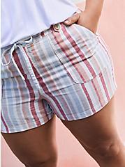 Plus Size  Drawstring Short Short - Linen Stripe Multi, STRIPES, alternate