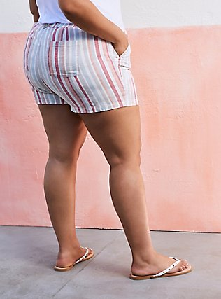 Drawstring Short Short - Linen Stripe Multi, STRIPES, alternate
