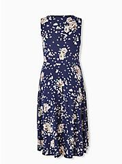Navy Floral Ponte Midi Dress, , alternate