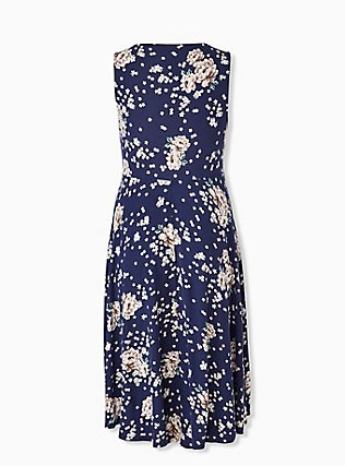 Plus Size Navy Floral Ponte Midi Dress, , alternate