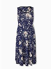 Navy Floral Ponte Midi Dress, , hi-res