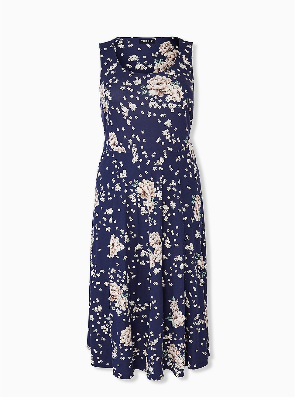 Navy Floral Ponte Midi Dress, , hi-res