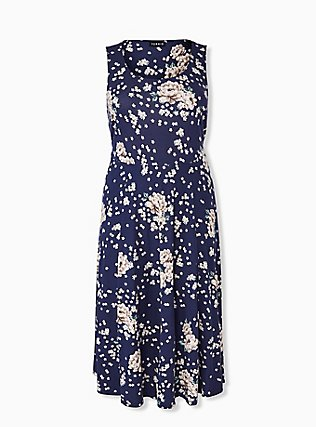 Plus Size Navy Floral Ponte Midi Dress, , hi-res