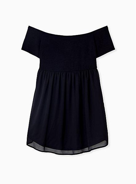 Super Soft Black Smocked Off Shoulder Babydoll Top, DEEP BLACK, alternate