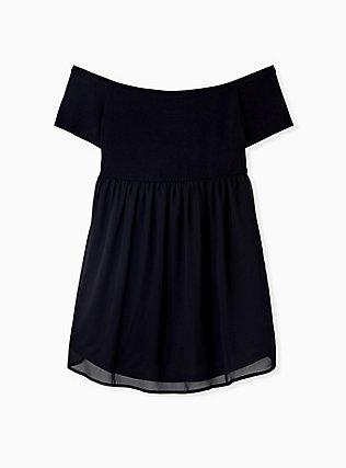 Plus Size Super Soft Black Smocked Off Shoulder Babydoll Top, DEEP BLACK, alternate