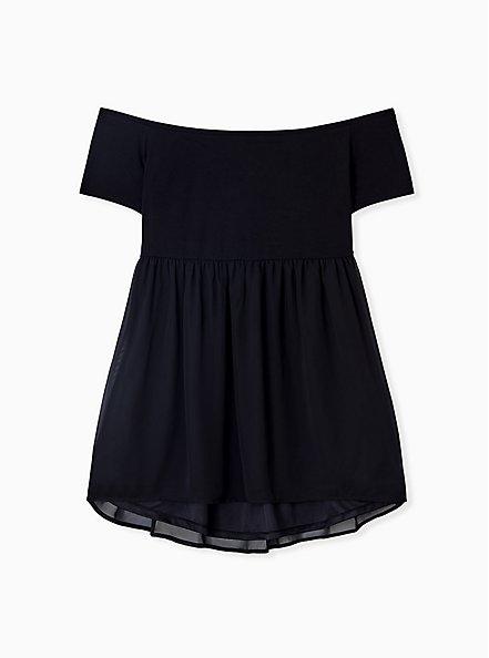 Super Soft Black Smocked Off Shoulder Babydoll Top, DEEP BLACK, hi-res