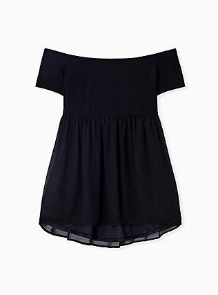 Plus Size Super Soft Black Smocked Off Shoulder Babydoll Top, DEEP BLACK, hi-res