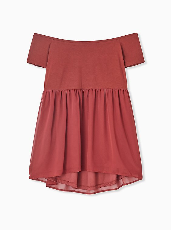 Super Soft Knit to Woven Brick Red Off Shoulder Babydoll Top, , hi-res