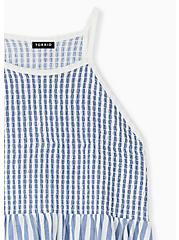 Blue & White Stripe Jersey Smocked High Neck Babydoll Top , STRIPE - MULTI, alternate
