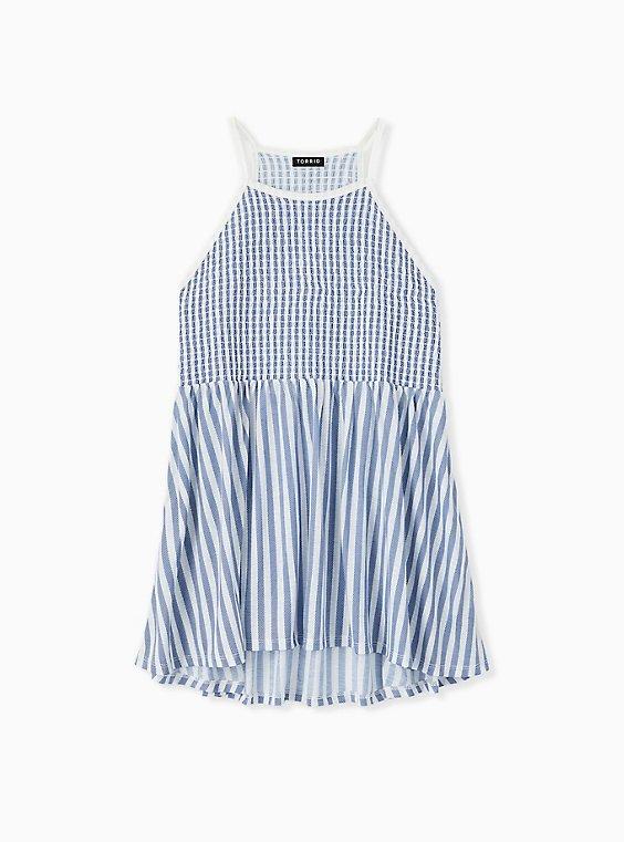Blue & White Stripe Jersey Smocked High Neck Babydoll Top , , hi-res