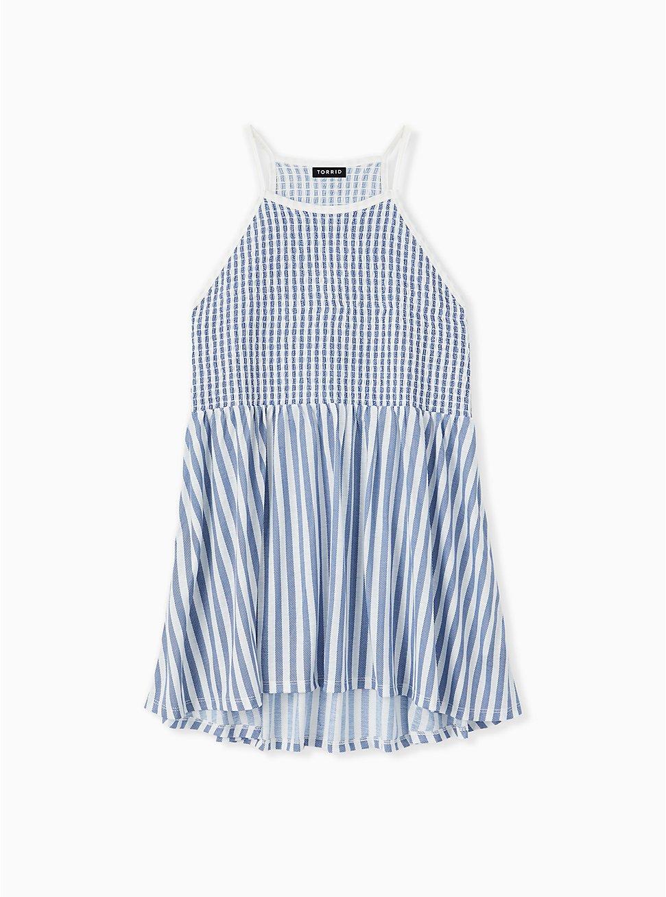 Blue & White Stripe Jersey Smocked High Neck Babydoll Top , STRIPE - MULTI, hi-res