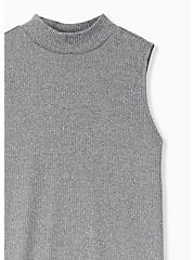 Plus Size Grey Rib Hacci Mock Neck Tank, HEATHER GREY, alternate