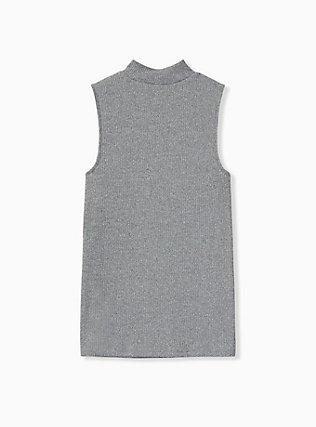 Grey Rib Hacci Mock Neck Tank, HEATHER GREY, alternate